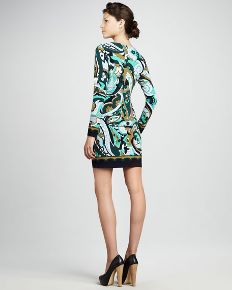 Dylan Long-Sleeve Printed Jersey Shift Dress