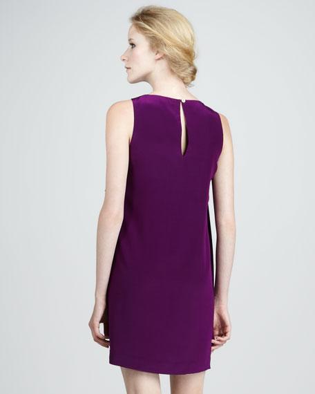Ruffle-Front Silk Dress