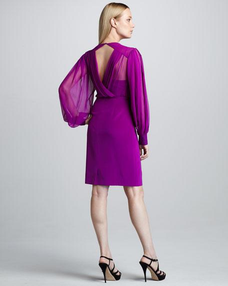 Long-Sleeve Blouson Cocktail Dress