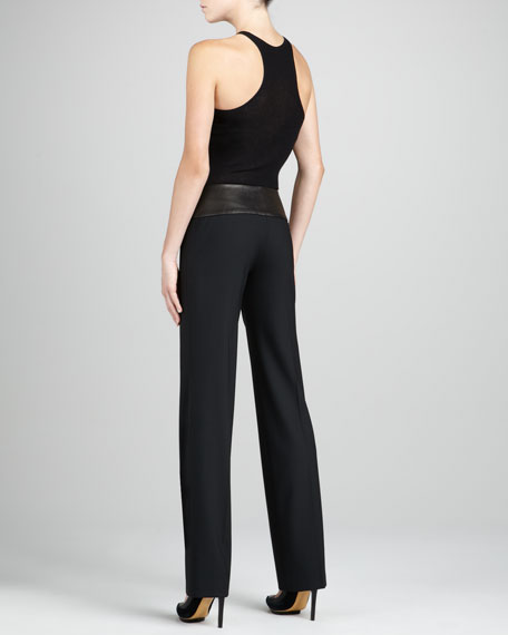 Leather-Waist Trousers
