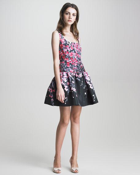 Square-Neck Drop-Waist Floral Dress