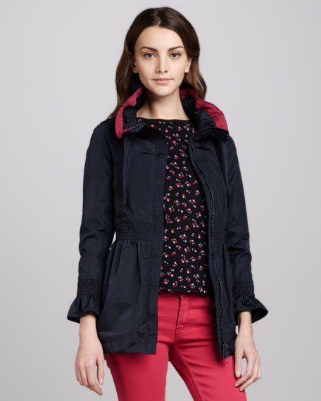 Smocked-Waist Anorak Jacket