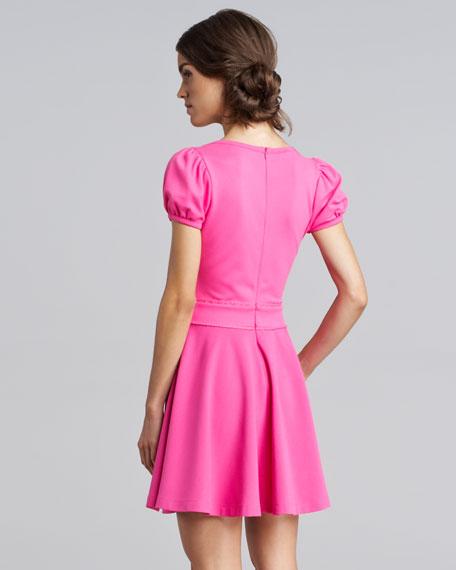 Bow-Waist Jersey Dress, Bright Pink