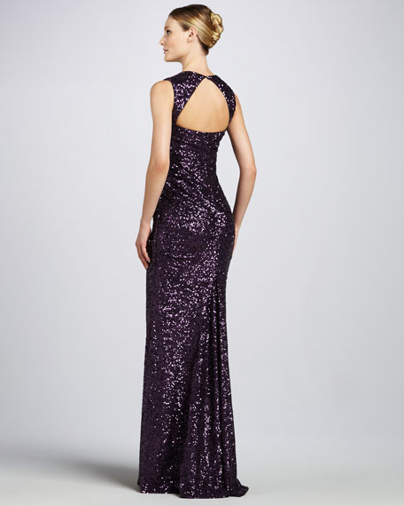 Sequined Keyhole-Back Gown
