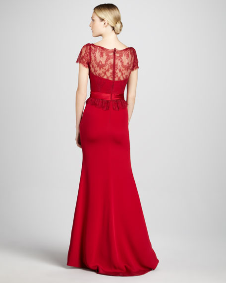 Short-Sleeve Column Gown with Lace Bodice