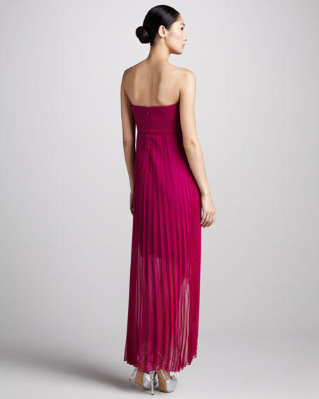 Pleated Sequin-Top High-Low Dress