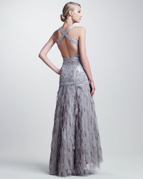 Beaded Organza-Skirt Gown