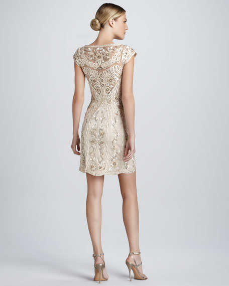 Scooped Neck Beaded Cocktail Dress