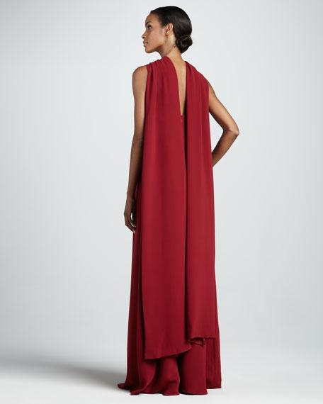 Cape-Back Maxi Dress