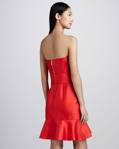 justina strapless bow-waist dress