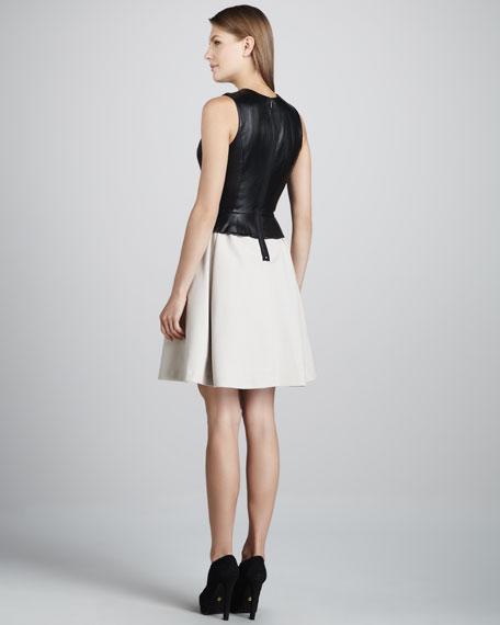 Leather-Top Peplum Dress