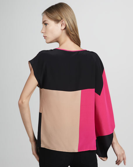 Side-Drape Colorblock Top