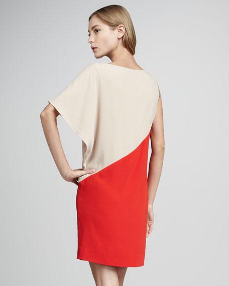 Colorblock Side-Drape Dress