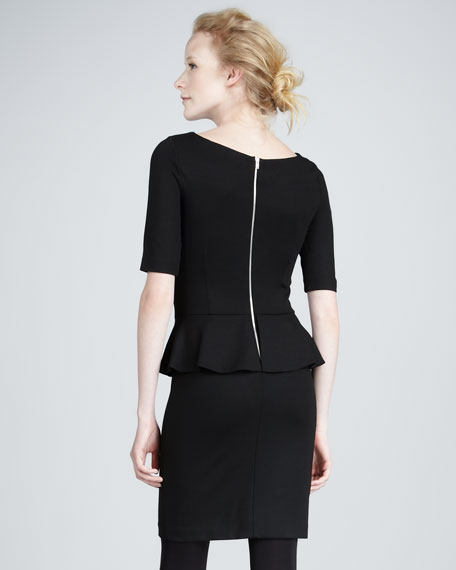 Boat-Neck Peplum Dress
