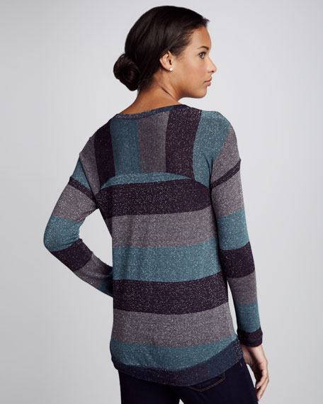 Shimmery Striped Knit Sweater