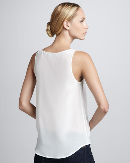 Relaxed Silk Tank, Ivory