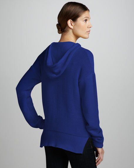 Knit Pullover Hoodie, Blue