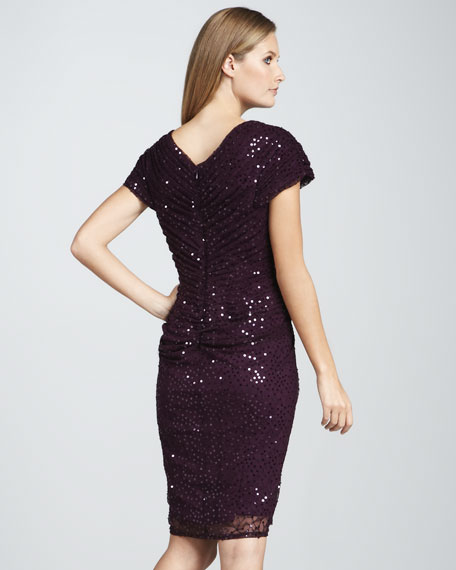 Short-Sleeve Sequined Cocktail Dress