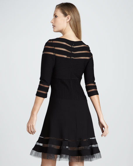 Three-Quarter Sleeve Cocktail Dress with Illusion Accents