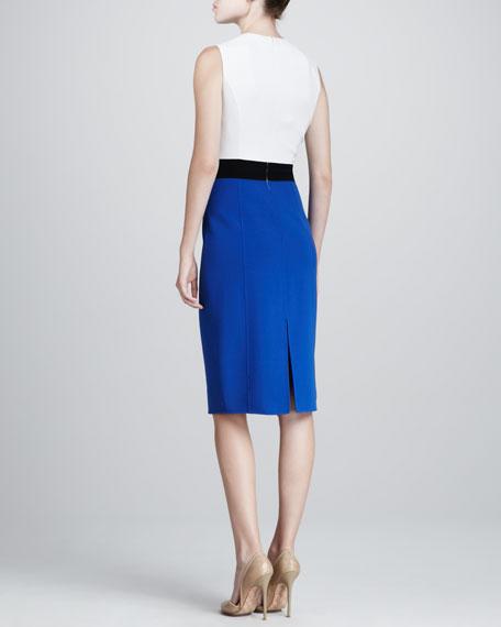 Colorblock Sheath Dress, Cobalt