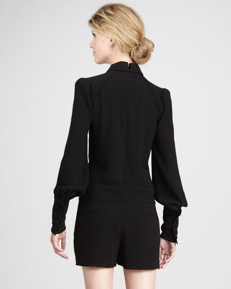 Long-Sleeve Crepe Jumpsuit