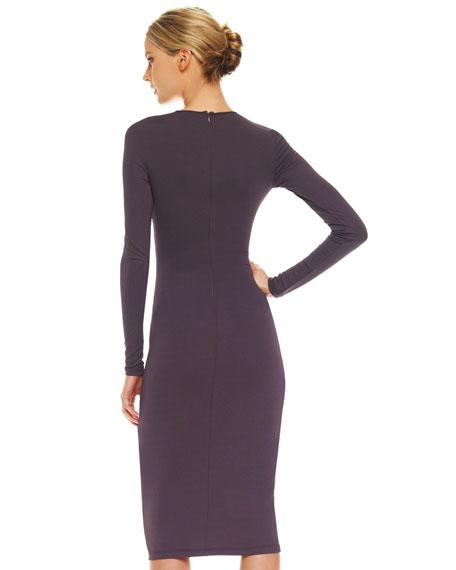 Twist-Front Matte Jersey Dress