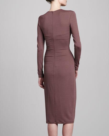 Twist-Front Jersey Dress, Mauve