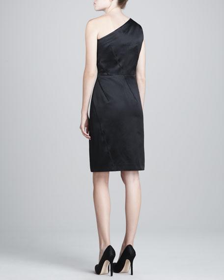 Asymmetric Duchess Satin Dress, Black