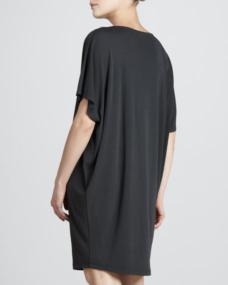 Cowl-Neck Jersey Dress, Graphite