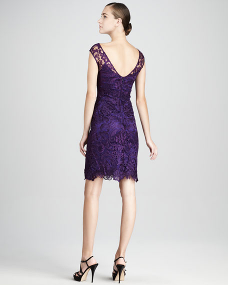 Bateau-Neck Lace Cocktail Dress