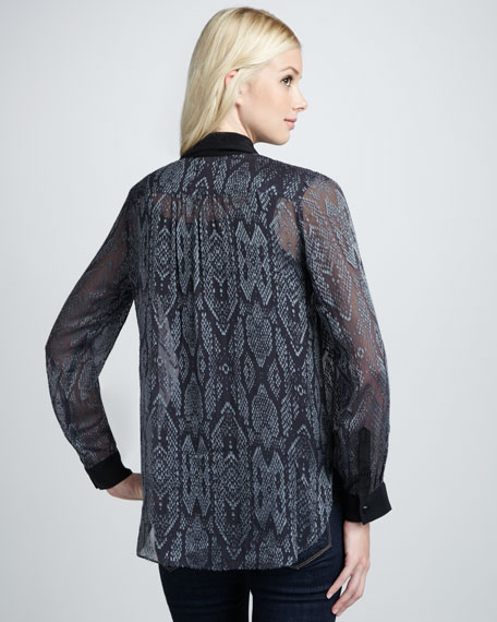 Sheer Python-Print Long-Sleeve Blouse