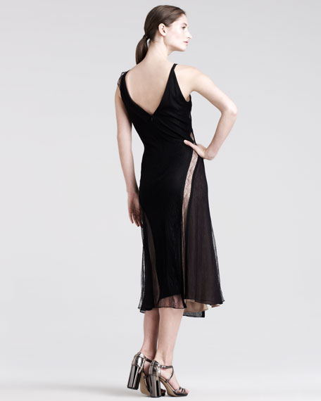Modern Draped Lace Dress