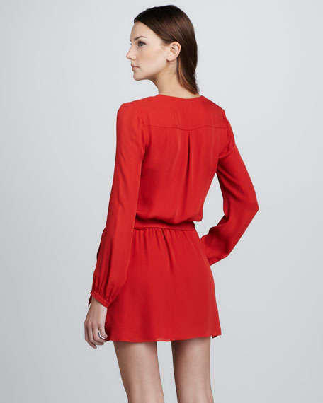 Silk Faux-Wrap Dress