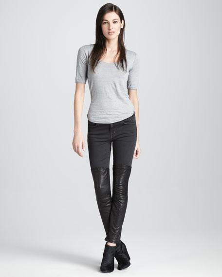 Minx Pistol Skinny Leather-Panel Jeans
