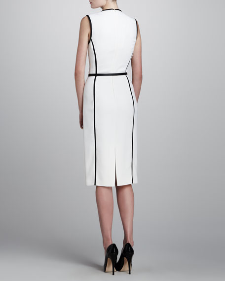 Leather-Insert Dress, White