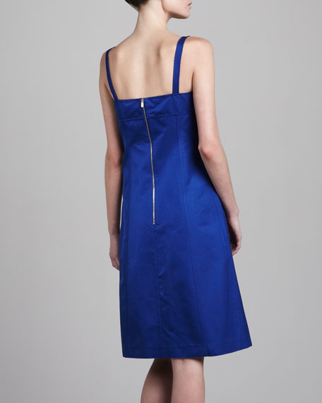 Sleeveless A-Line Dress, Cobalt