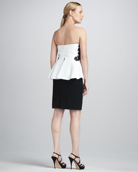 Strapless Two-Tone Peplum Dress