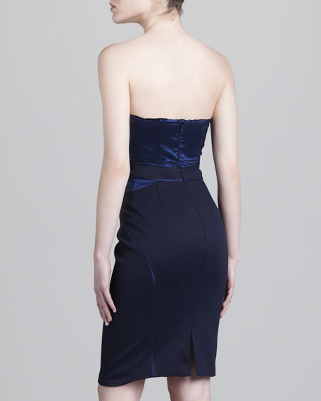 Bonded Strapless Jersey Dress, Navy
