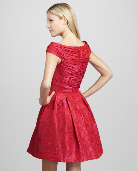 Ruched Jacquard Cocktail Dress