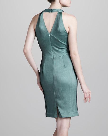 Jersey Halter Dress, Green/Black