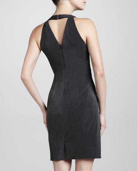 Jersey Halter Dress, Washed Black