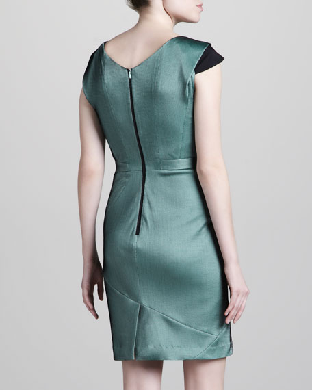 Two-Tone Jersey Dress, Green/Black