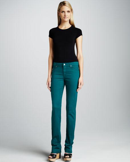 Faith Straight-Leg Jeans, Emerald