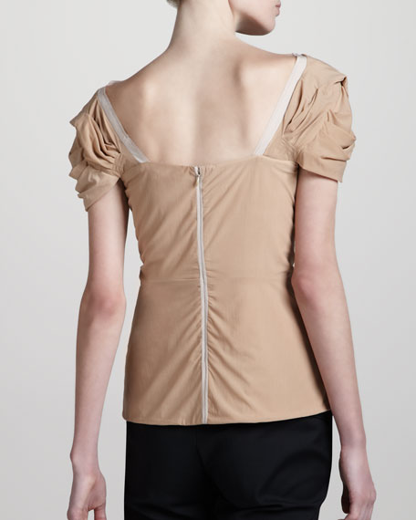 Draped Jersey Top, Nude