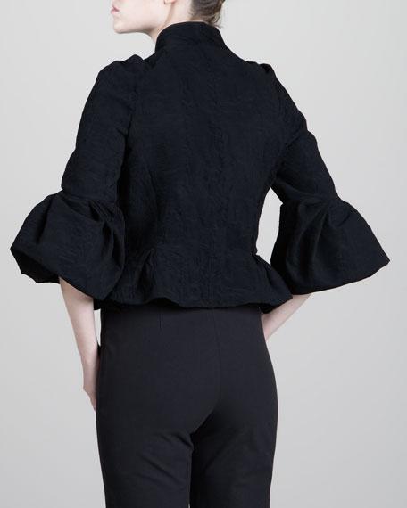 Structured Plisse Jacket, Black