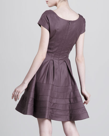 Fit-and-Flare Felt Dress, Brown