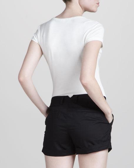 Cuffed Cotton Shorts, Black
