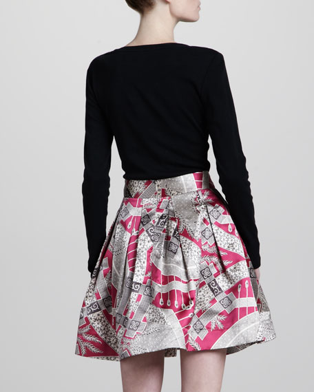 Printed A-Line Skirt, Pink/Multicolor
