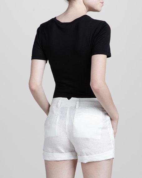 Cuffed Cotton Shorts, White