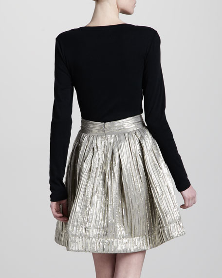 Pleated A-Line Metallic Skirt, Gold